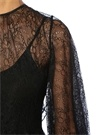 Siyah Sırtı Bağcıklı Dantel Tunik