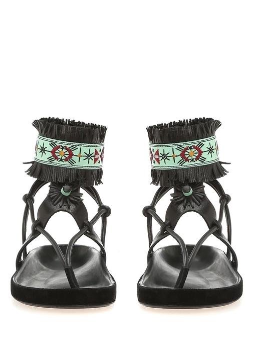Abrily Siyah Kadın Deri Sandalet