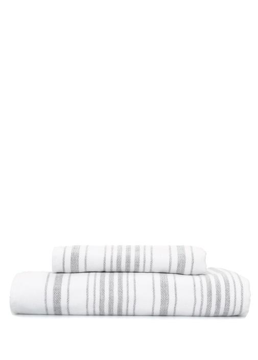 Gauze Çizgili Beyaz Gri Banyo Havlusu 100 x 180 cm