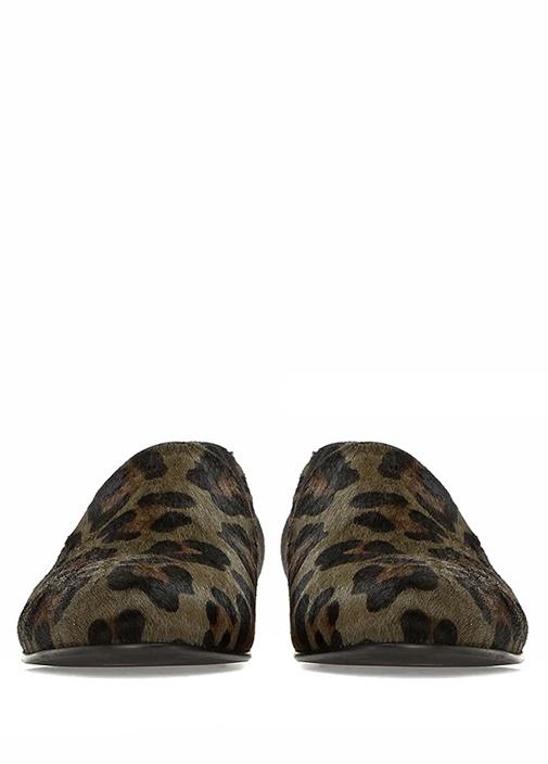 Yeşil Leopar Desenli Kadın Deri Loafer