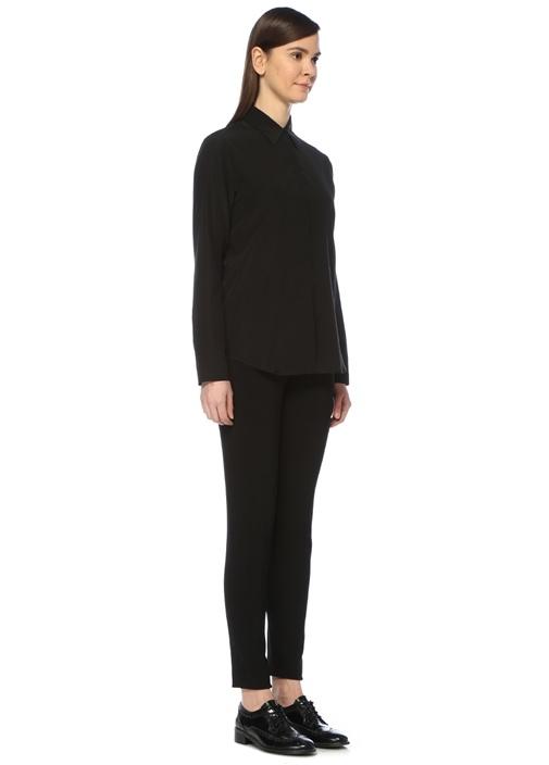 Siyah Gizli Düğmeli Klasik İpek Gömlek