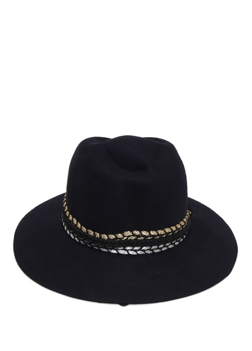 Siyah Garni Şeritli Kadın Yün Şapka