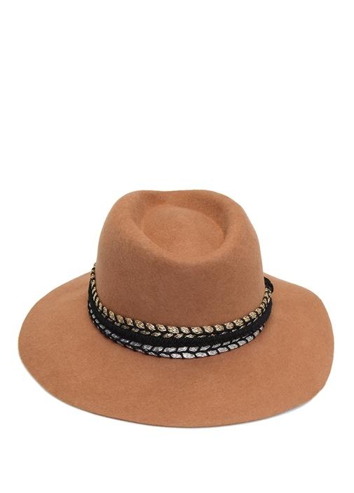 Kamel Garni Şeritli Kadın Yün Şapka