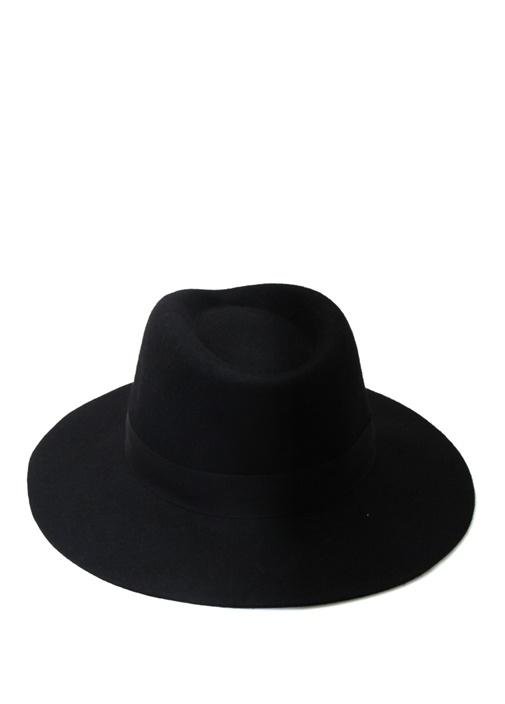 Siyah Bantlı Kadın Yün Şapka