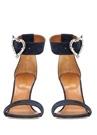 Lacivert Taşlı Broş Detaylı Kadın Deri Sandalet