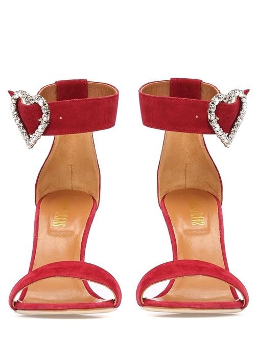 Bordo Taşlı Broş Detaylı Kadın Deri Sandalet
