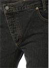 Siyah Bol Kesim Arkası Logolu Crop JeanPantolon