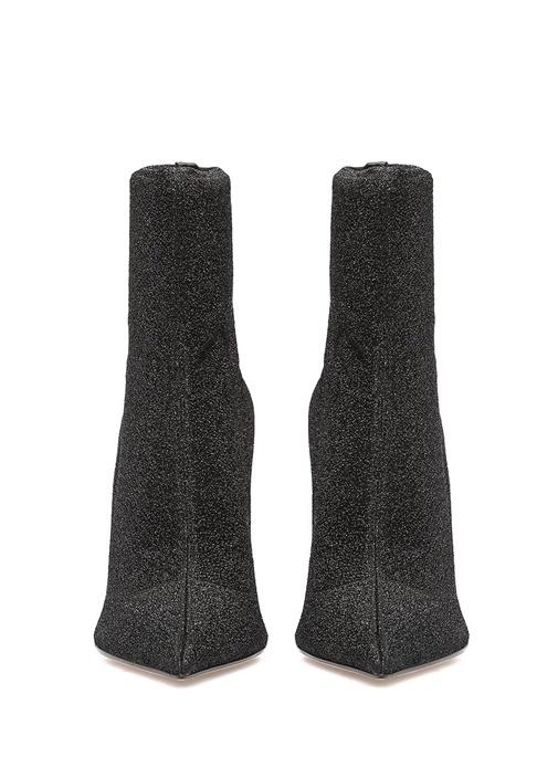 Siyah Simli Çorap Formlu Kadın Bot