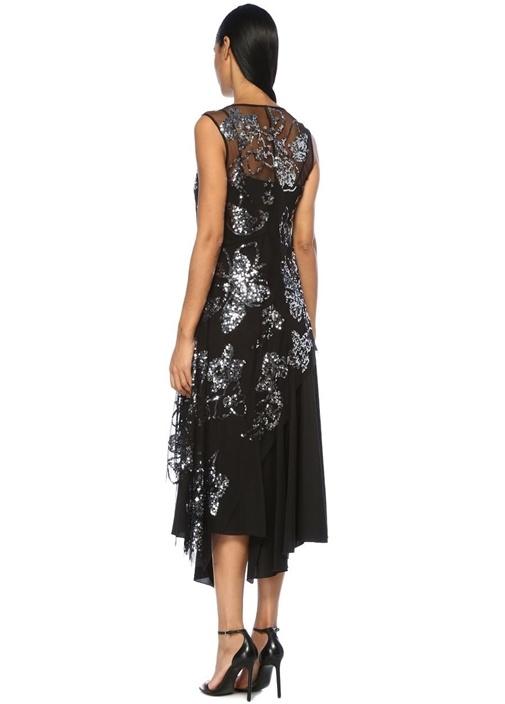 Siyah Silver İşlemeli Asimetrik Maksi İpek Elbise