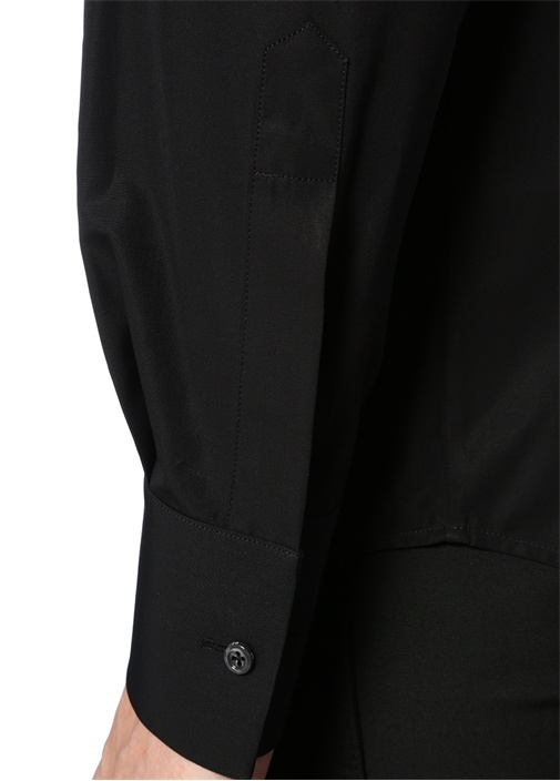 Siyah Klasik Yaka Gold Payet İşlemeli Gömlek