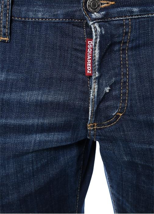 Slim Fit Lacivert Yıpratma Detaylı JeanPantolon