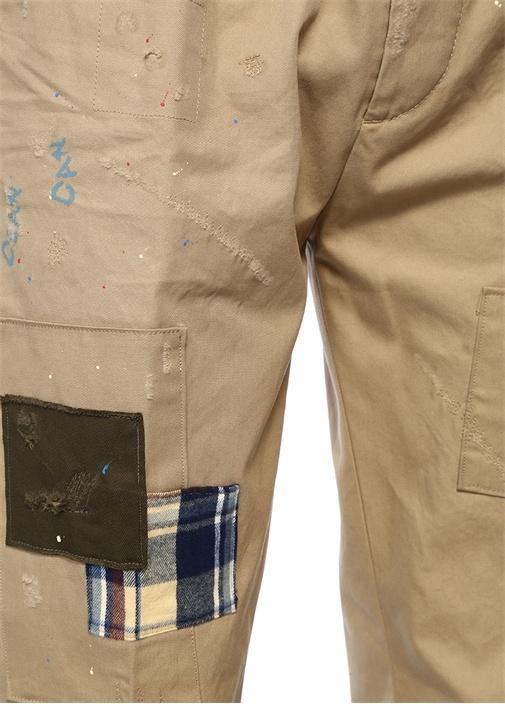 Cropped Fit Bej Patchli Yıpratmalı Kanvas Pantolon
