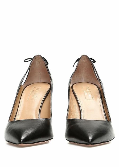 Forever Siyah Püskül Detaylı Deri Topuklu Ayakkabı