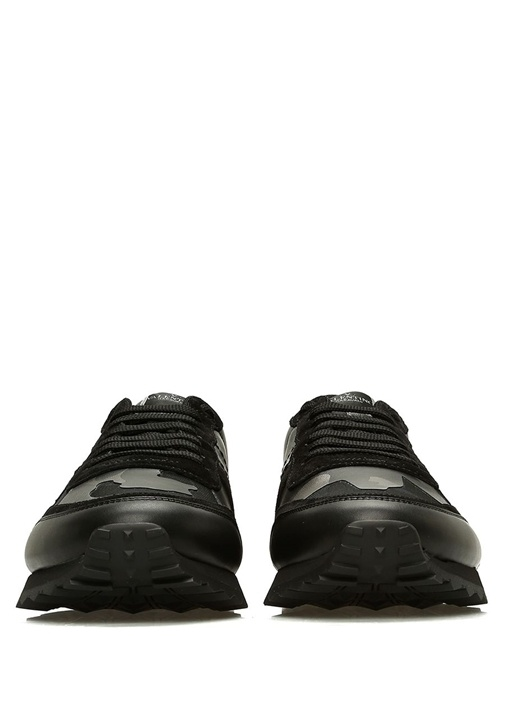 Siyah Metalik Silver Desenli Erkek DeriSneaker