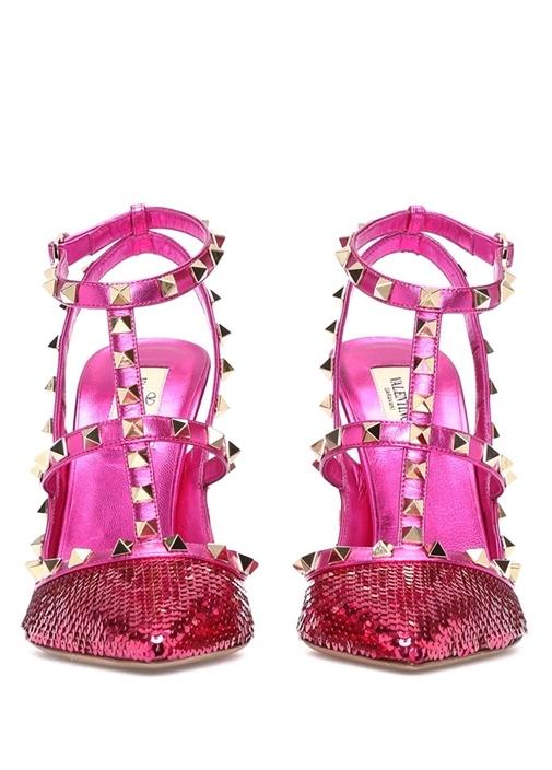 Pembe Payetli Topuklu Ayakkabı