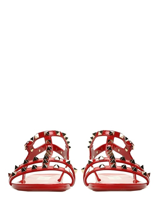 Rockstud Kırmızı Kadın Sandalet