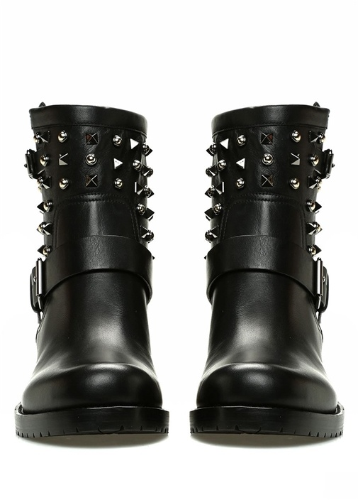 Siyah Troklu Kadın Deri Bot