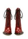 Kırmızı Fermuarlı Bağcıklı Kadın Deri Bot