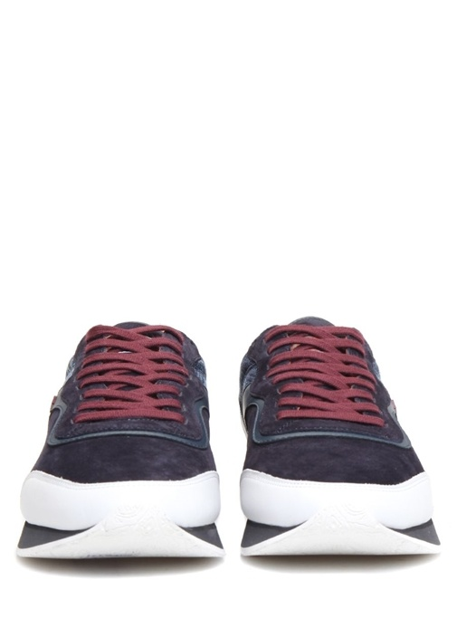 Lacivert Etnik Desen Detaylı Erkek SüetSneaker