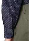 Lacivert İngiliz Yaka Kıvrım Desenli Gömlek