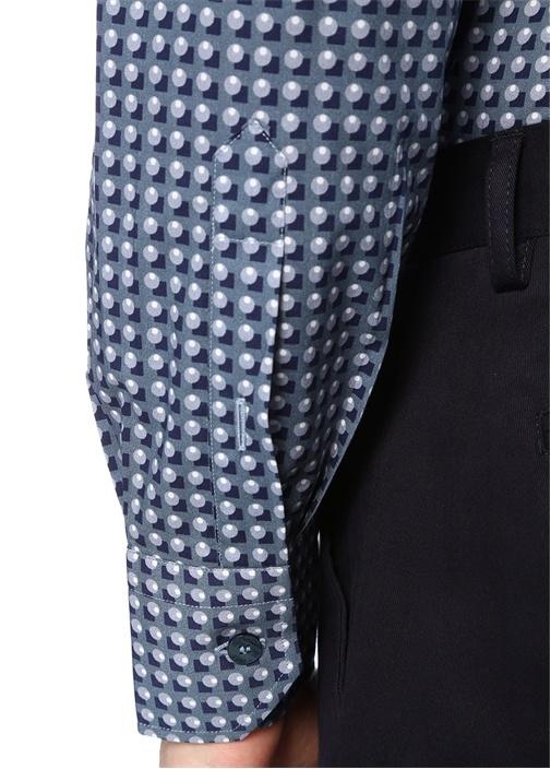 Mavi İngiliz Yaka Geometrik Desenli Gömlek