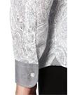Beyaz Klasik Yaka Etnik Desenli Gömlek