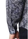 Lacivert Yakası Düğmeli Etnik Desenli Gömlek