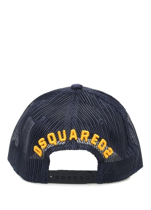 Lacivert Dokulu Nakışlı Erkek Şapka