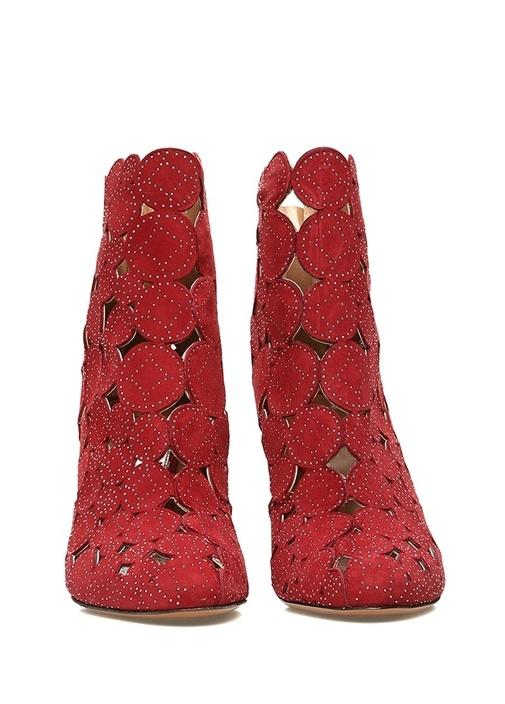 Kırmızı Lazer Kesim Kadın Nubuk Bot