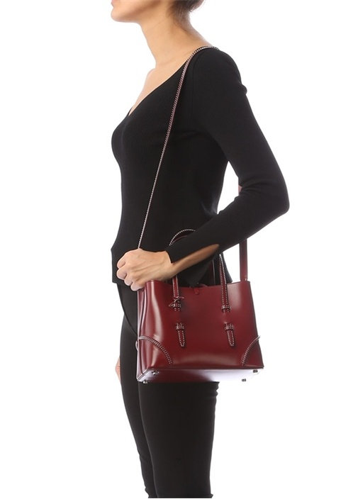 Bordo Troklu Kadın Deri Çanta