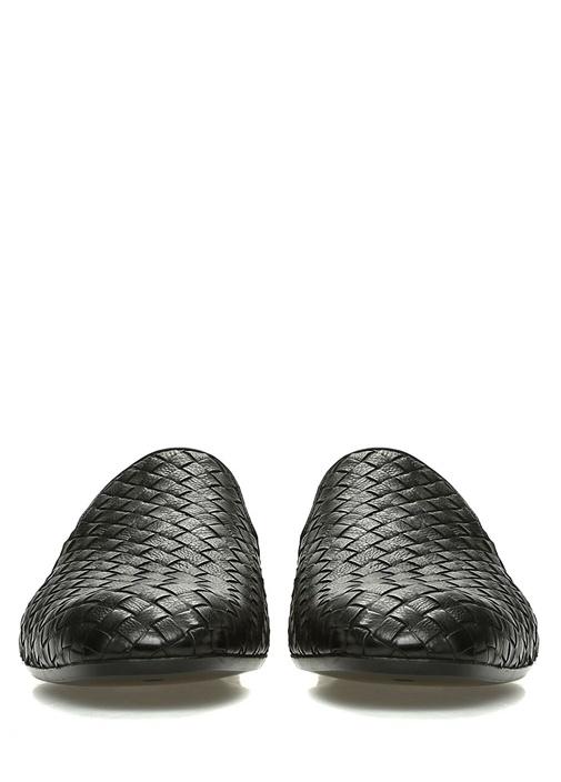 Siyah Örgü Dokulu Erkek Deri Slipper