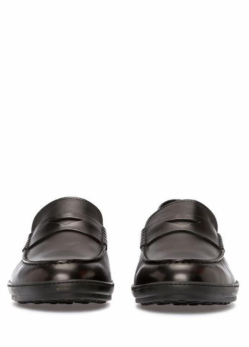 Siyah Bant Detaylı Erkek Deri Loafer