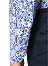 Slim Fit Mavi Klasik Yaka Çiçek DesenliGömlek