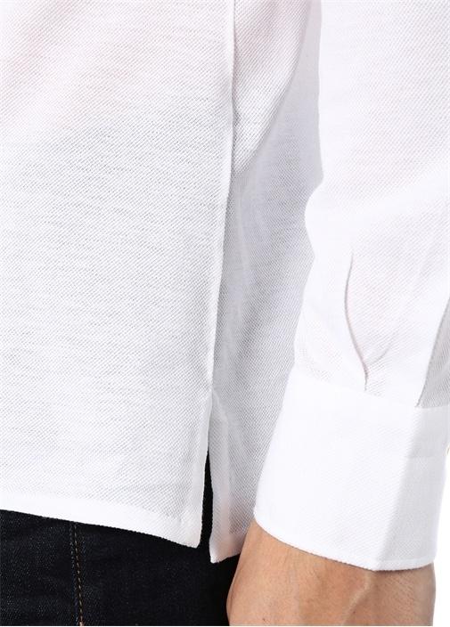 Beyaz İngiliz Yaka Dokulu Cepli Gömlek