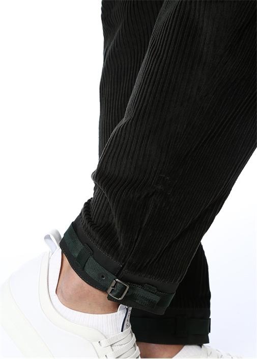Yeşil Yüksek Bel Paça Detaylı Kadife Pantolon
