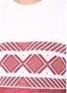 Beyaz Kırmızı Desenli Yün Kazak