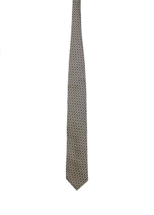 Siyah Sarı Mikro Desenli Erkek İpek Kravat