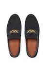 Lacivert Logo Bant Detaylı Erkek Deri Loafer