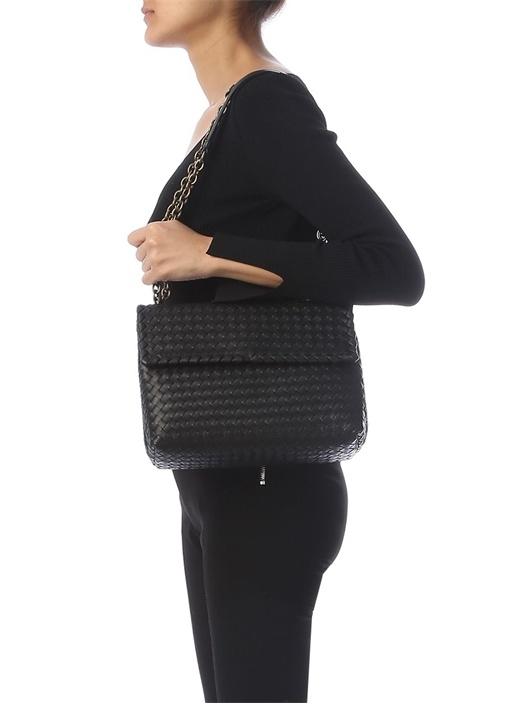 Siyah Örgü Dokulu Kadın Deri Çanta