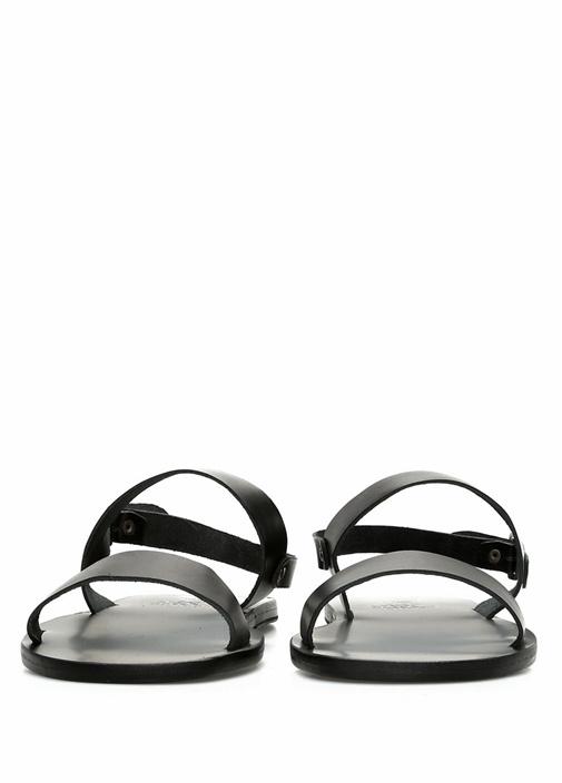 Cleon Siyah Çapraz Bantlı Erkek Deri Sandalet