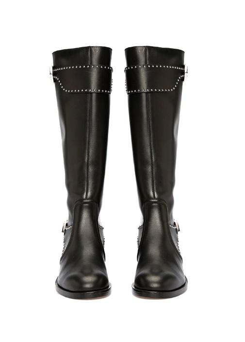 Elegant Siyah Silver Troklu Kadın Deri Çizme