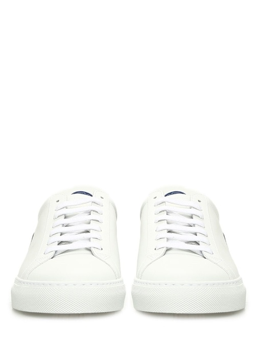 Mavi Beyaz Logo Patchli Kadın Deri Sneaker