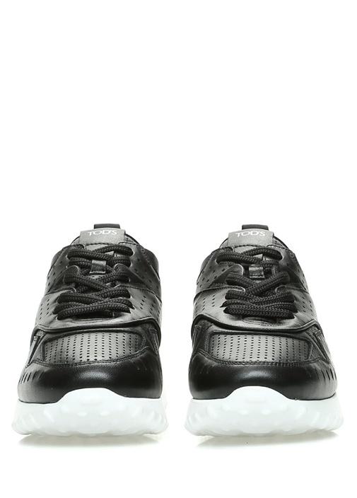Siyah Logolu Delik Detaylı Kadın Deri Sneaker