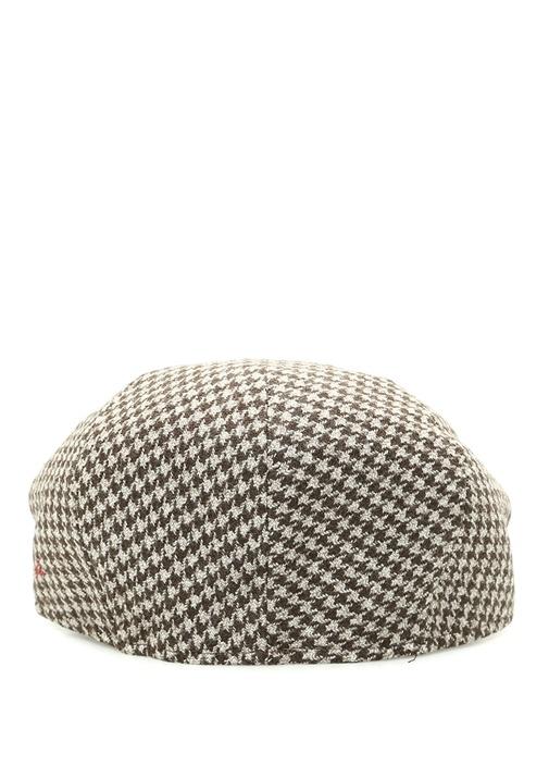 Vizon Mikro Kazayağı Desenli Erkek Yün Şapka