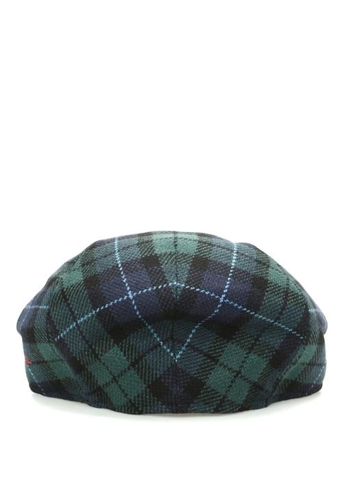 Mavi Yeşil Ekose Desenli Erkek Yün Kaşmir Şapka