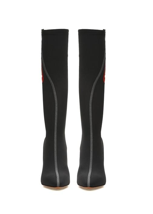 Siyah Çorap Formlu Logolu Kadın Çizme