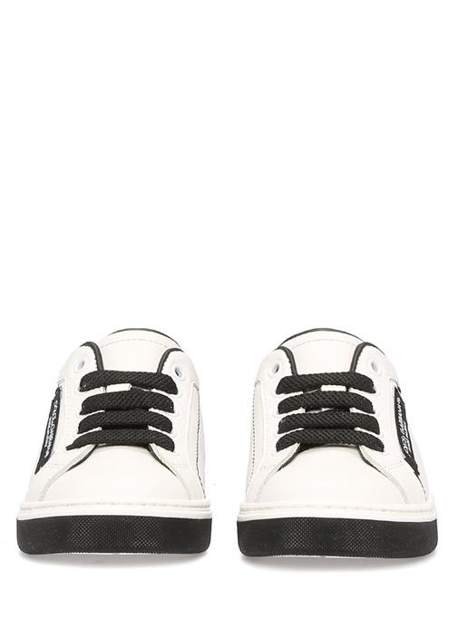 Siyah Beyaz Bağcıklı Erkek Çocuk Deri Sneaker