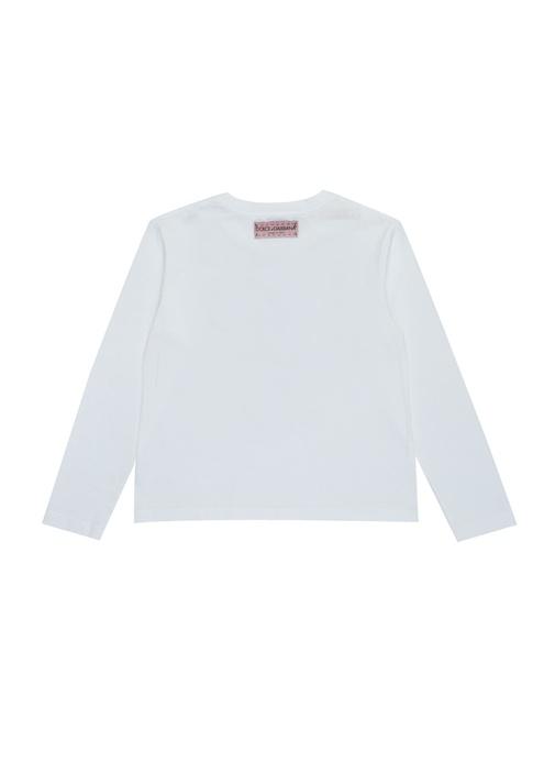 Beyaz Bisiklet Yaka Logo Baskılı Kız Çocuk T-shirt
