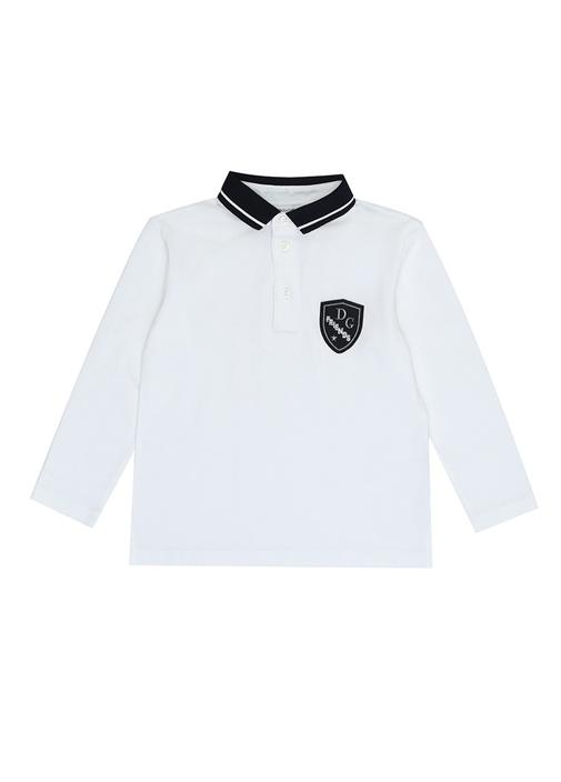 Beyaz Polo Yaka Logolu Erkek Çocuk Sweatshirt
