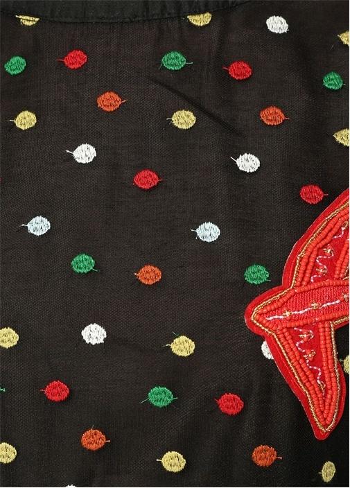 Siyah Renkli Puan Nakışlı Patchli Midi Tül Elbise